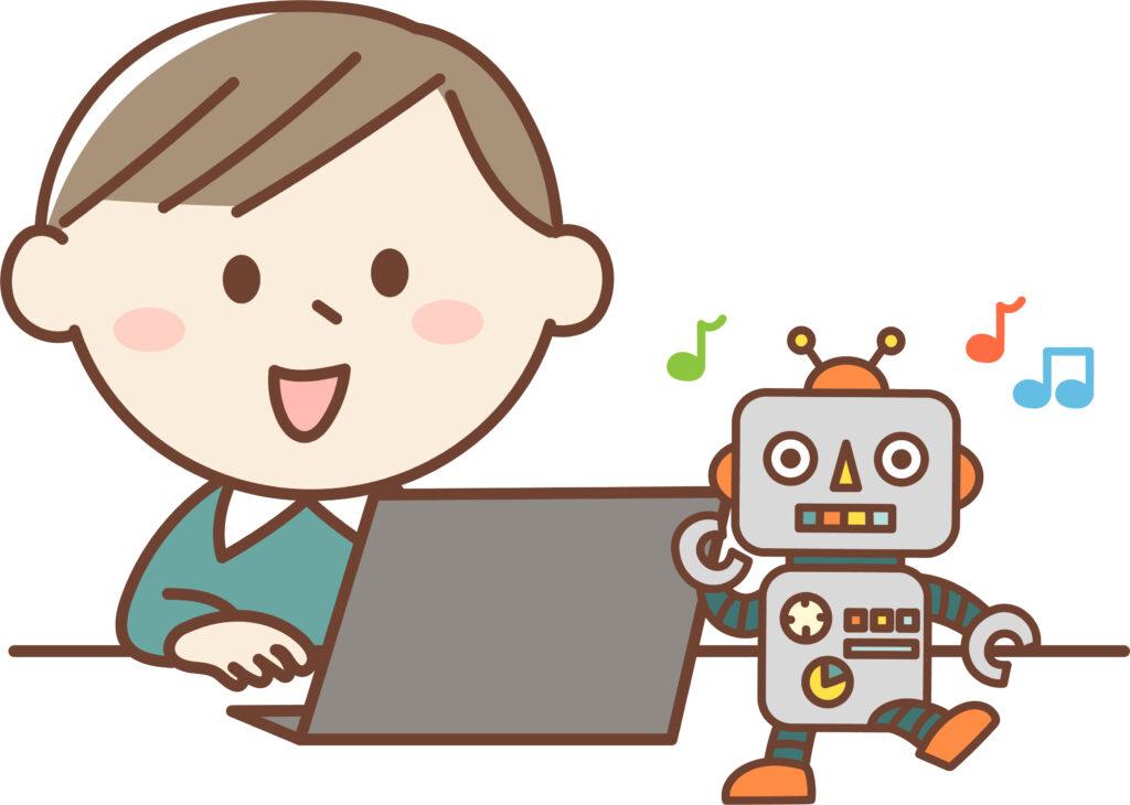 プログラミングをする男の子ロボット